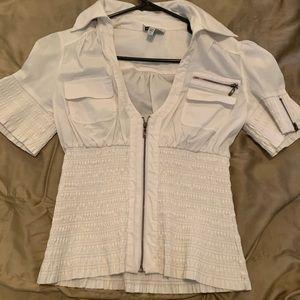 Bebe white collared blouse